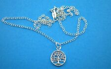 """925 Sterling Silver 12mm Tree of Life Necklace Pendant 16""""/ 18"""" Adjustable"""