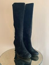 Tory Burch Womens Black Suede Knee-high Wedge Boots Size 6