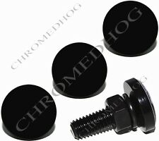 4 Black Billet Aluminum License Plate Frame Tag Lic Bolts - Solid Gloss Black