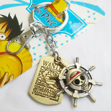 ONE PIECE MONKEY D LUFFY Pirate Flag Cosplay Double Keyring Keychain Pendant Gif