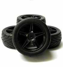 A66111/121 1/10 Silck On Road Front Rear Buggy RC Wheels Tyres 5 Spoke Black