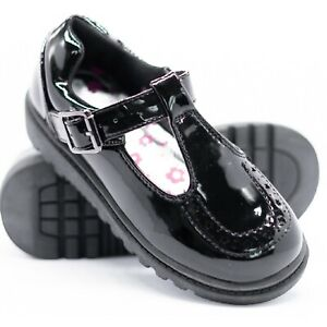 KIDS GIRLS FLAT BLACK BACK TO SCHOOL LOAFERS DOLLY T-BAR STRAP BUCKLE SHOES 9-3