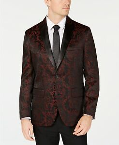 Inc International Concepts  Men's Red Slim-Fit Jacquard Blazer Small