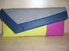 COLOUR BLOCK  YELLOW, GREY, PINK & ROYAL BLUE clutch bag, Faux leather