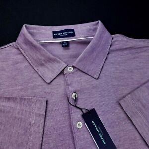 Peter Millar Collection Polo Stretch Cotton Blend Striped Purple Shirt XL $158