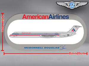 AMERICAN AIRLINES ROUNDED RECTANGULAR MCDONNELL DOUGLAS MD80 MD 80 STICKER DECAL