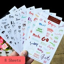 8 Sheet Letter Words Diary Books Scrapbooking Crafts Decor PVC Craft Stickers