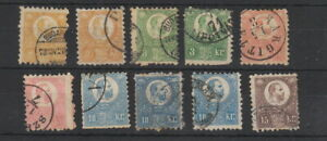 Hungary 1871 values to 15k , 10 stamps