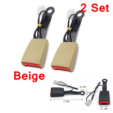 """2x Beige 7/8"""" Car Safety Seat Belt Buckle Socket Plug Connector W/Warning Cable"""