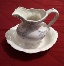 Large Collectible Vintage Blue & White Porcelain Pitcher & Basin Set Used