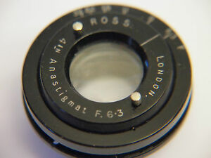 Vintage Ross London Anastigmat 4 inch F6.3 Lens with 8 blade aperture.