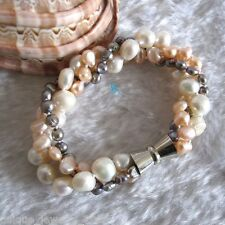 """8"""" 4-9mm White Pink Gray Baroque 3Row Freshwater Pearl Bracelet"""