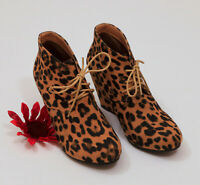 EUC Bella Mare Leopard Suede Ankle Boot Wedges US 8