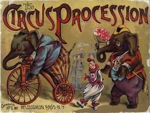 CIRCUS ART PROCESSION ELEPHANT CLOWN VINTAGE USA POSTER ART PRINT BB1632B