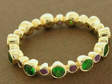 s R256 Genuine 9K Gold Natural Amethyst & Tsavorite Full Eternity Ring Stackable