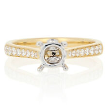 NEW Semi-Mount Engagement Ring 18k Gold Fits 5-6.5mm Center w/Diamonds .26ctw