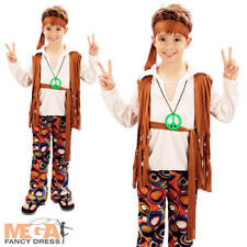 Hippy Boy Costume Groovy 1960s Hippie Child Kids 60s 70s Fancy Dress Outfit 4-10