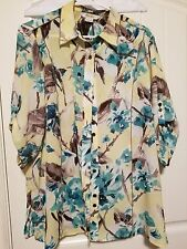 Women Tan Jay Plus Size 14 Button up Blouse with Yellow and Green Floral Print