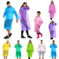 Raincoat Waterproof Poncho Reusable Plastic Adult Camping Rain Coat Kids Mens US
