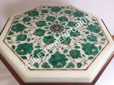 "12"" White Marble Coffee Console Table Top Malachite Inlay Floral Arts Decor E584"