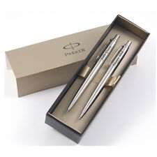 Personalised Engraved Parker Jotter Ballpoint Pen and Pencil Set - Stainless Ste