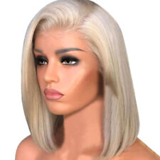 Fashion Women Blonde Lace Front Human Hair Wigs Short Wigs Bob Wig Remy - 42CM