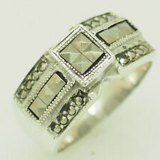 Solid Sterling Silver 925 Square & Round Cut Marcasite Statement Ring 7