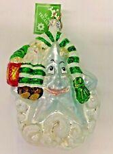 Slavic Treasures   Star Lamp Ornament *New* Rare Christmas Elf Light Glass Usa