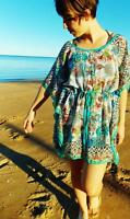 Ladies Kaftan Beach Dress Sheer Resort Waisted Small Medium 8 10 12 New SALE