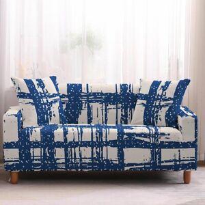 Pinstripe Furniture Covers Sofa 2 Seater Stretch Cushion Pet Printed Slip Cover