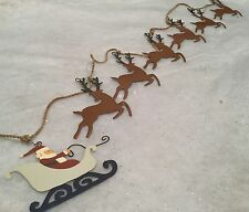 Father Christmas Sleigh pulled by Reindeer Garland / Bunting Mantel Decoration