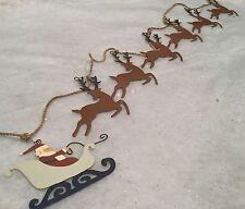Padre Navidad trineo tirados por Reno Garland / EMPAVESADO Mantel Decoración