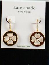 Kate Spade Gold Plated SYMBOLS Cutout Spade Floral Disc Drop Earrings WBRUH346