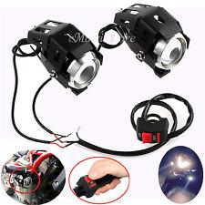 2pcs 125W CREE U5 LED Motorcycle Headlight Driving Fog Spot Light Bulb & Switch