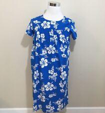 Ui-Maikai Hawaiian Dress MuMu MuuMuu Blue Floral Hibiscus