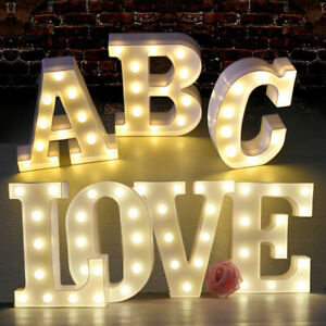 LED Light Up Alphabet Letters Plastic Numbers Standing Party Birthday Bar Decor