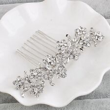 Bridal Wedding Side Hair Pin Crystal Rhinestone Leaf Flower Hair Comb Clip Tiara