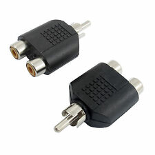 2pcs RCA AV Audio Y Splitter Plug 1 Male to 2 Female Adapter Connector