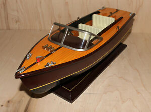 Vintage Chris Craft Style Wooden Model Boat 14 Inches Long - Brand Unknown