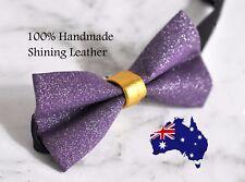 Men Women Purple Shining Gold Faux Leather Handmade Bow Tie Bowtie Wedding Party