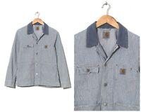 Vintage Mens CARHARTT Chore Coat Jacket Striped White Blue Size S