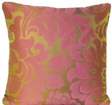 """Pink Green Cushion Cover Designers Guild Woven Silk Fabric Damask  16"""" Square"""