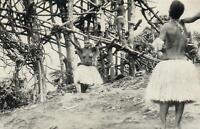VINTAGE VANUATU PENTECOST JUMP with SEMI-NAKED WOMEN & MEN POSTCARD - USED