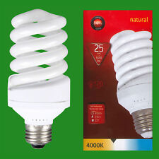 1x 25W (=120W) CFL 4000K Cool White Spiral ES E27 Edison Screw Light Bulb Lamp