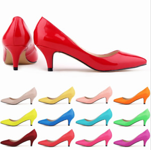 Womens Ladies Interview Pointed Toe Work OL Shoes Kitten Faux Leather Heel