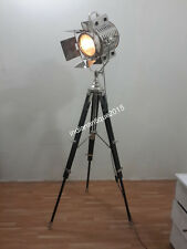 Vintage Modern Nautical  Floor Lamp Chrome Finish Searchlight With Black Stand