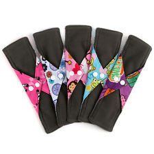 "10PCS 10"" Reusable Charcoal Bamboo Cloth Menstrual Pads Panty Liner"