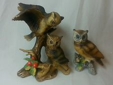 Ceramic owl figurines Lot of 2 Perched on log