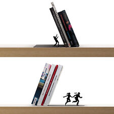 ARTORI Design Bookend Book End Stopper Holder Black Metal Falling Runaway