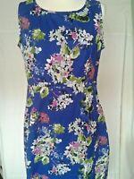 Adini 100% Cotton Poplin dress sleeveless side zip scoop neck lined empire line